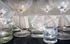 detalhe taças de vidro