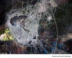 detail broken glass during manifestations in Rio de Janeiro, 2013